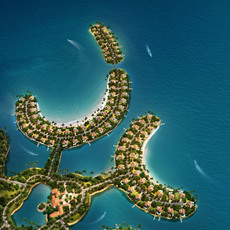 Residential Island Complex Aerial View 481 3D Model