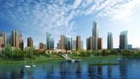 Waterfront City Skyline 513 3D Model