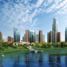 Waterfront City Skyline 513 3D Model