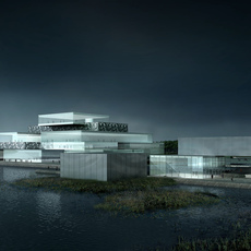Night Scene Modern Building 609 3D Model