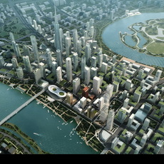 Aerial Cityscape with River 684 3D Model