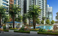 Swimming Pool Plaza High Rise Buildings 712 3D Model