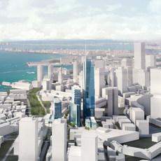 Downtown Cityscape Waterfront 726 3D Model