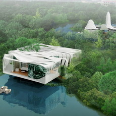 Futuristic Building on Water 727 3D Model