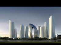Waterfront Futuristic Cityscape 750 3D Model