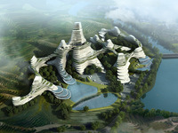 Futuristic City with Terraced Land 764 3D Model