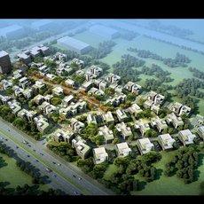 Aerial View Building Complex 814 3D Model