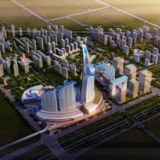 City Aerial View 823 3D Model