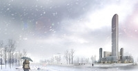 Winter Cityscape with Snow Falling 862 3D Model