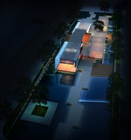 Modern Building at Night 905 3D Model