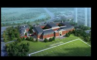 School Building with Sports Field 920 3D Model