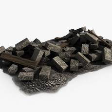 Stone pile with planks 3D Model