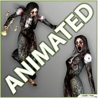 Animated Female Zombie - 14 animated cycles 3D Model