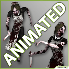 Animated Maid Zombie - 14 animated cycles 3D Model