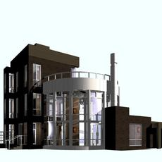 Brown brick and steel post modern building with glass rotunda and cross interior art accents 3D Model