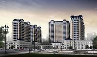 Modern Victorian inspired apartment high rise buildings with blue mansard roofs 3D Model