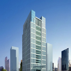 Mirrored modern high rise building with dual towers 3D Model