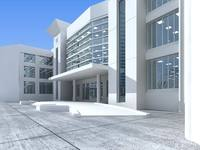Modern white office building 3D Model