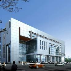 Mirrored minimal modern office building with glass grid windows during day with people and cars 3D Model