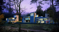 Modular modern house and guest house night scene with contemporary landscaping 3D Model