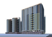 High rise apartment or condominium buildings with glass fronts and balconies 3D Model