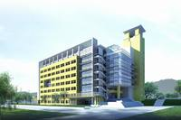 Yellow accented concrete and glass modern office building with tower 3D Model