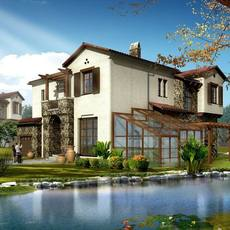 Spanish style home with attached glass atrium on small river 3D Model