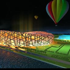 Aerial night scene with air balloons over illuminated shaped structures and trees forming 2008 3D Model