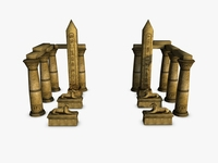 Egyptian temple entrance elements  3D Model