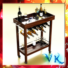 Wine Table Rack, Bottles and Glasses. 3D Model