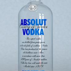 Absolut Vodka Bottle 1 Liter 3D Model