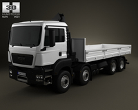 MAN TGS Flatbed Crane Truck 4-axis 2012 3D Model