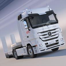 Mercedes Actros Semi Truck Flatbed 3D Model