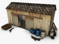 Low poly warehouse 3D Model