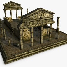Low poly ancient temple 3D Model