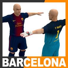 Football Player and Goalkeeper - FC Barcelona 3D Model
