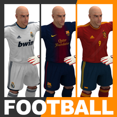 Football Player and Goalkeeper - Real Madrid Barcelona Spain 3D Model