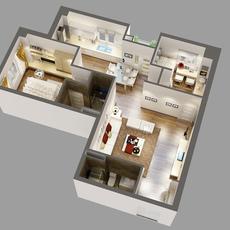 3D Model Detailed House Cutaway 3D Model