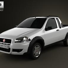 Fiat Strada Crew Cab Working 2012 3D Model
