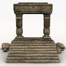 Ancient entrance with rocks 3D Model