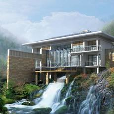 Modern house sitting over a waterfall 3D Model