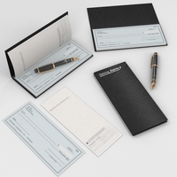 Checkbook & Pen 3D Model