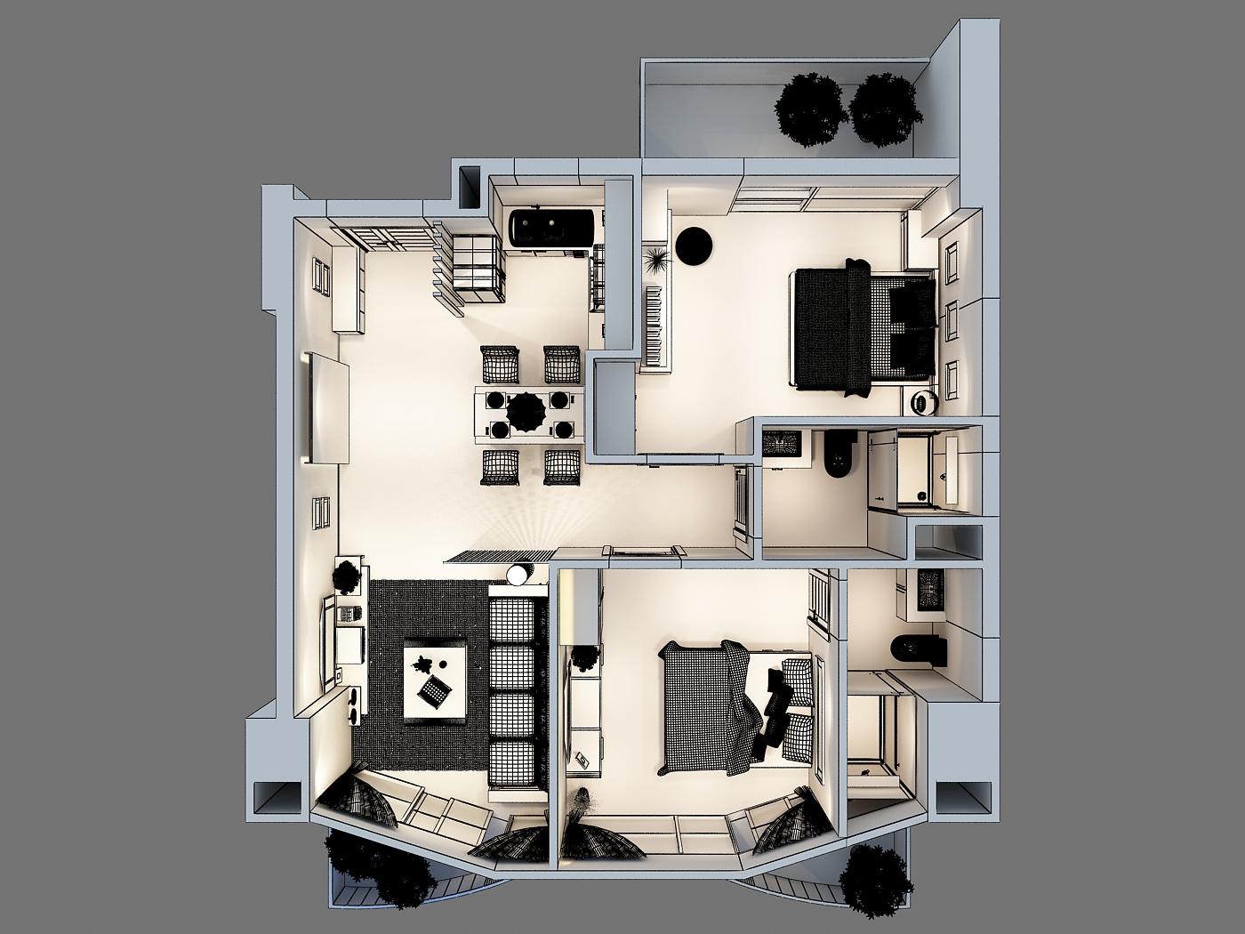 3d model detailed interior apartment 3d model for Com apartment model