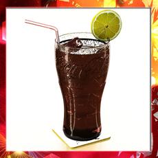 Coke Coca Cola Glass, Coaster, Straw and Lemon 3D Model