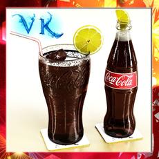Coke Coca Cola Bottles and Glass 3D Model