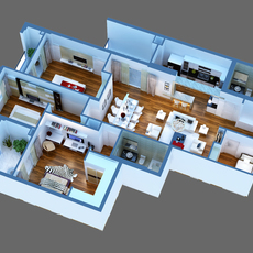 3D Model Luxury Detailed House Cutaway  3D Model