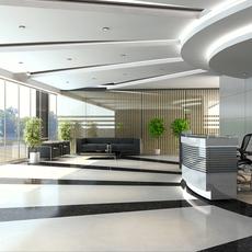 Detailed Lobby Office Building Scene 3D Model