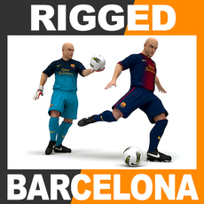 Rigged Football Player and Goalkeeper - FC Barcelona 3D Model