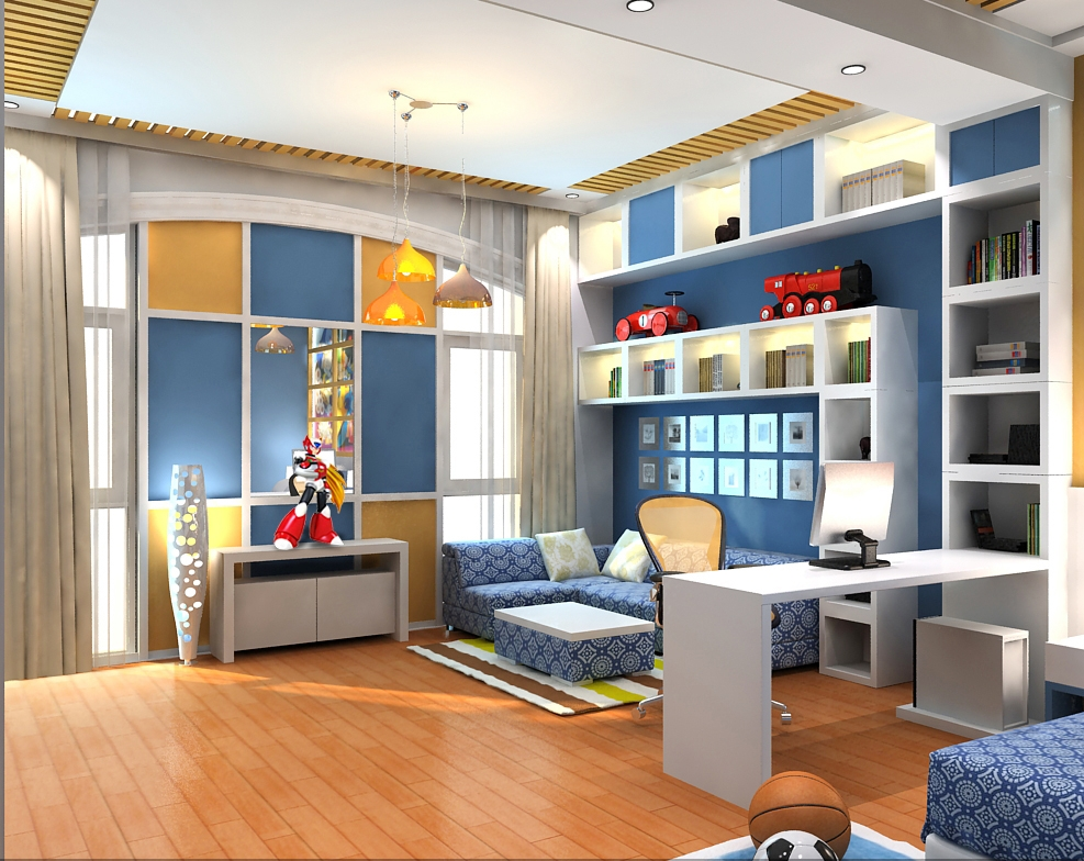 Modern kids bedroom 3d model for Model bedroom interior design