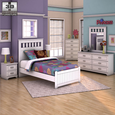 Ashley Lulu Panel Bedroom Set 3D Model